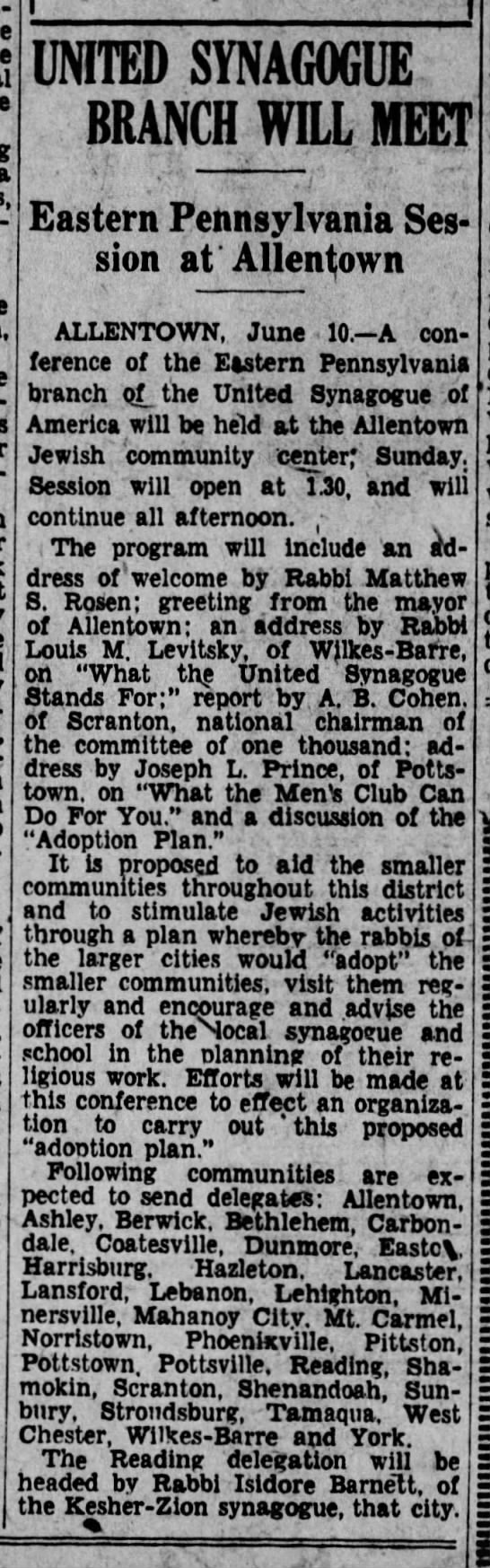 United Synagogue of America branch will meet at Allentown Jewish Community Center, 11 Jun 1931 - UNITED SYNAGOGUE BRANCH WILL MEET Eastern...