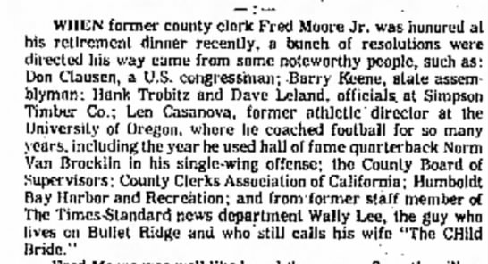 Best Wishes, Dad 02/15/1976 - WHEN former county clerk Fred Moore Jr. was his...