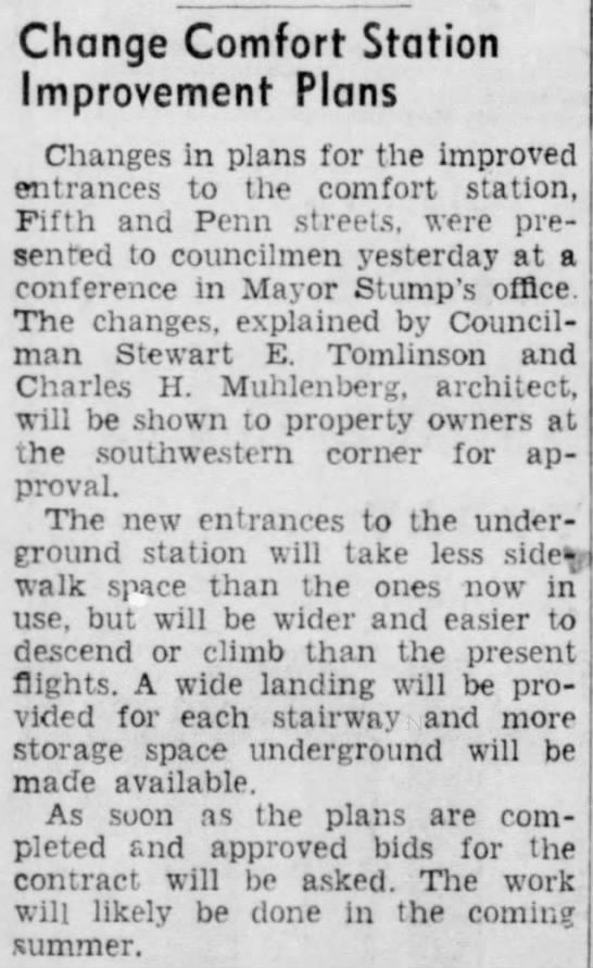 19390419 - Change Comfort Station Improvement Plans...
