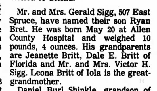 Ryan Bret Sigg - birth 1978 - Mr. and Mrs. Gerald Sigg, 507 East Spruce, have...