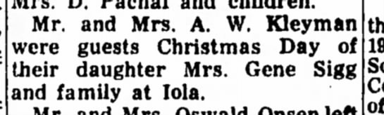 A.W. Kleyman - Christmas Visit - Mr. and Mrs. A. W. Kleyman were guests...