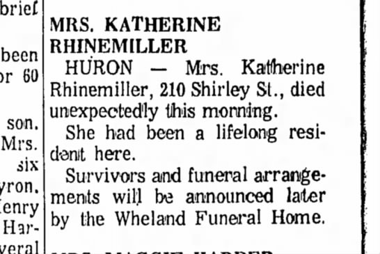 Katherine Rhinemiller - brief been 60 son. Mrs. six Henry Harry MRS....
