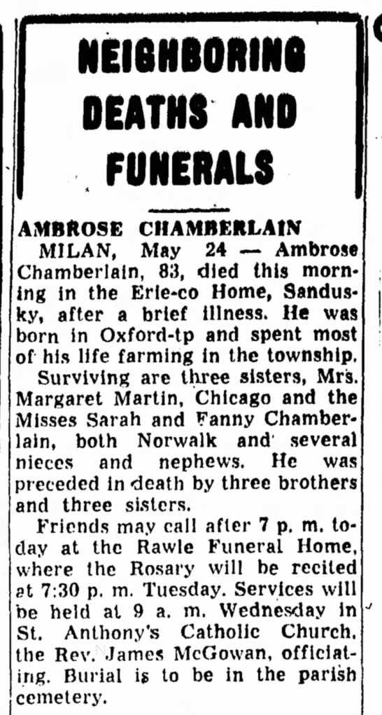 Ambrose Chamberlain death notice 1954 May 24 - NEI6HB0RIN8 DEATHS AND FUNERALS AMBROSE...