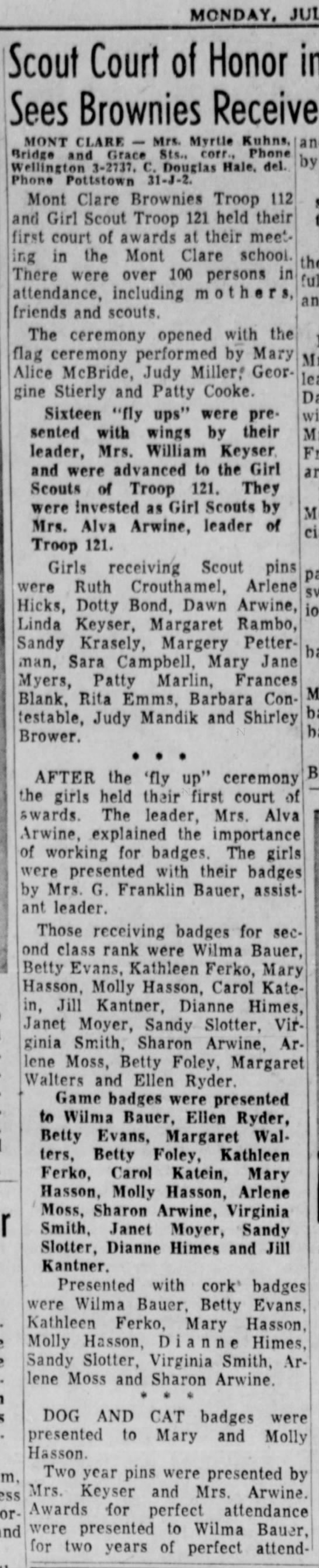 Aunt Molly 1957 - MONDAY. JULY Scout Court of Honor in Sees...