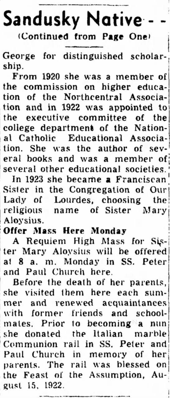 Mary Malloy Obit pg 2 - In 1923 she became a Franciscan Sister in the...
