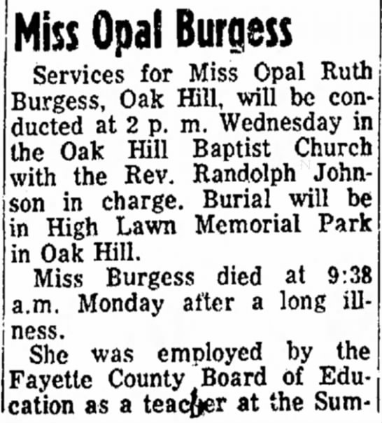 Raleigh Register (Beckley, WV) - Feb 1, 1966, Pg 8 - Burgess - . Miss Opal Burgess Services for Miss Opal Ruth...