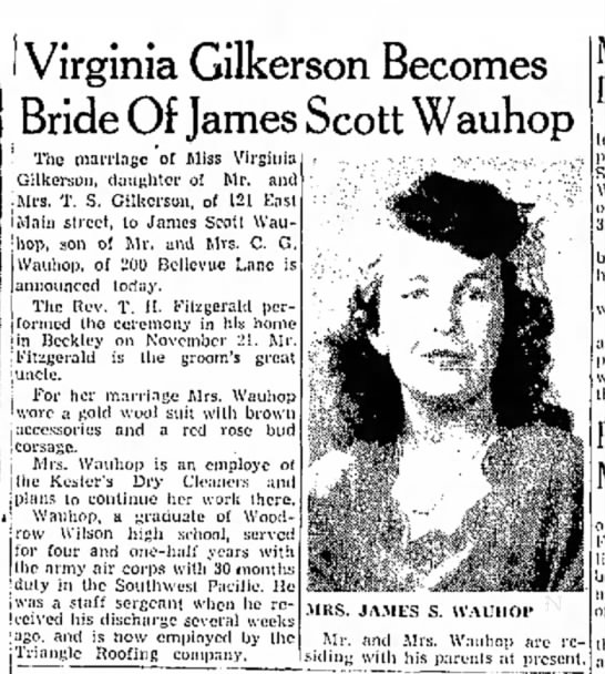 James and Virginia Marriage Announcement - I Virginia Gilkerson Becomes Bride Of James...