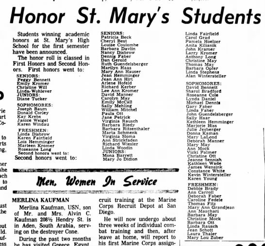 The Mays on St. Mary's honor roll - Honor St Mary's Students Columbus to her she to...