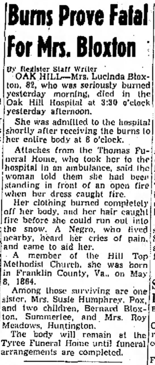 The Raleigh Register (Beckley, WV) - Feb 9, 1947, Pg 6 - RJB's widow #2 - 18 * ' » * Vote Hill of not Burns Prove Fatal...