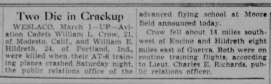 The Waco News-Tribune 2 March 1943 - ! wo Die it) ( «rackup WESt.ACO. March 1 VV Avi...