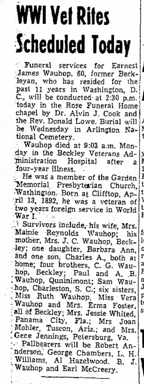 Ernest James Wauhop  August 5, 1952 - WWIYel Riles Scheduled Today : Funeral services...