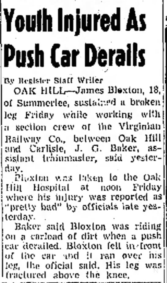 RR (Beckley, WV) - Apr 27, 1947 - pg 7 - James B (18) - the re- Youth Injured As Push Car Derails By...