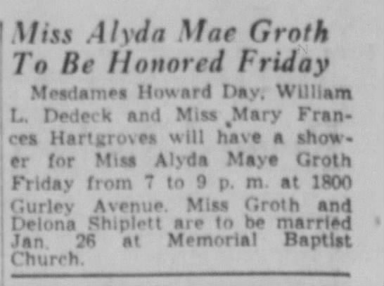 - f Miss AI yd a Mae Groth To Be Honored Friday...