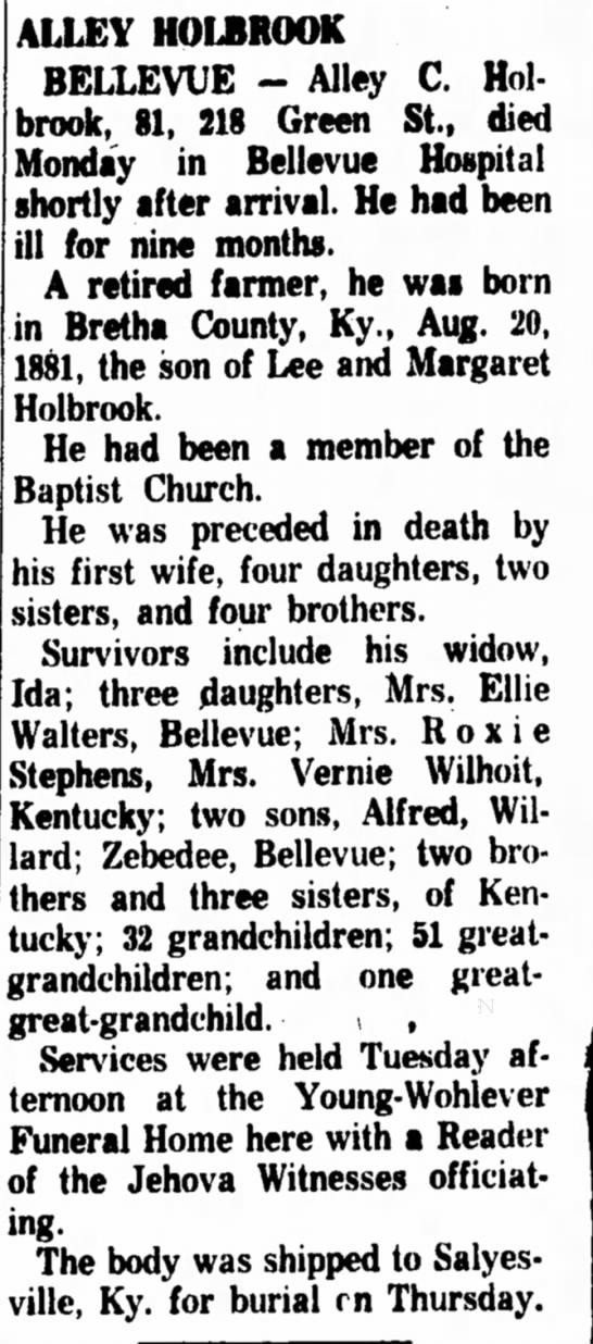 Alley Holbrook Dec 26th 1962 The Sandusky Register - ALLEY HOLBROOK BELLEVUE - Alley C. Holbrook,...