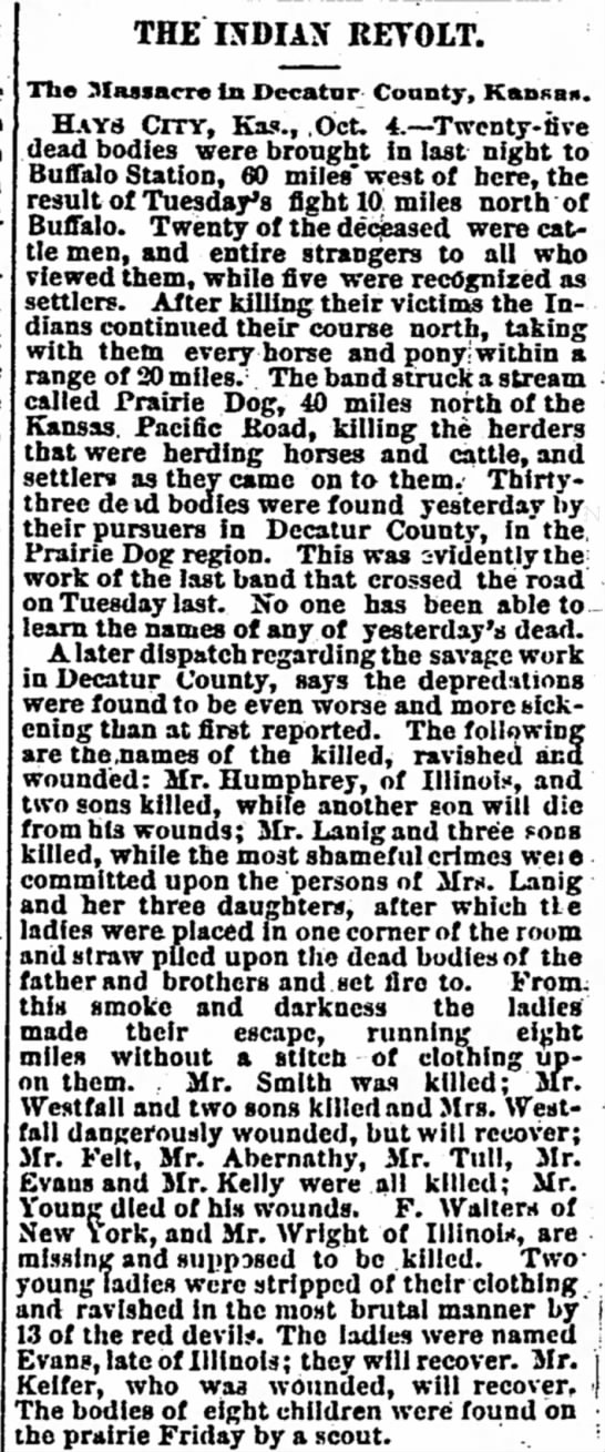 Indian Raid, Decatur Co. Kansas