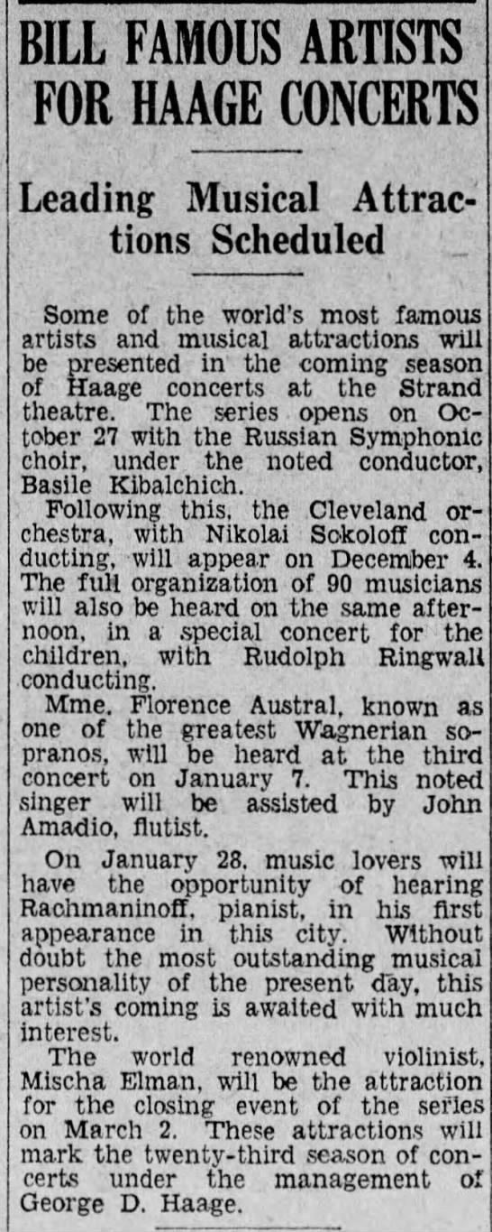 Kibalchich in Pennsylvania, Sep.10, 1930 - BILL FAMOUS ARTISTS FOR HAAGE CONCERTS Leading;...