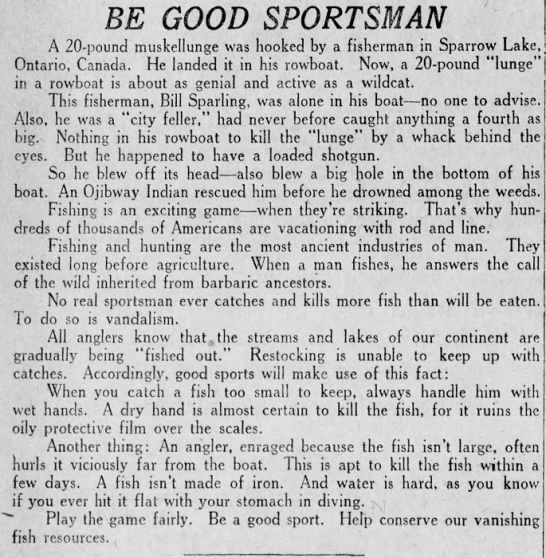 Sparrow Lake News - BE GOOD SPORTSMAN A 20 - pound muskellunge was...