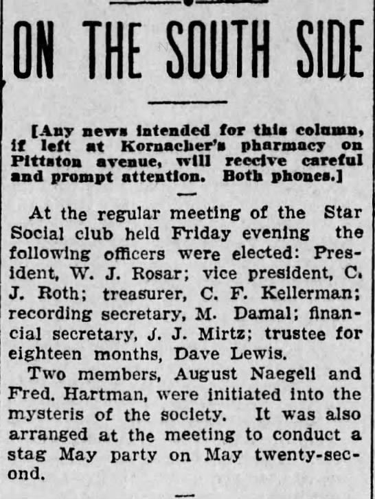 Fred Hartman- Club Initiation - ON THE SOUTH SIDE Any news Intended for tkla...