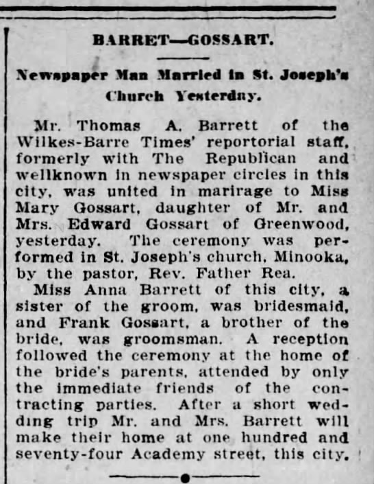 The Scranton Republican 6 May 1904 - Barrett-Gossart wedding - BAKRET GOSSART. ' Xmapaprr Mas Married la St....