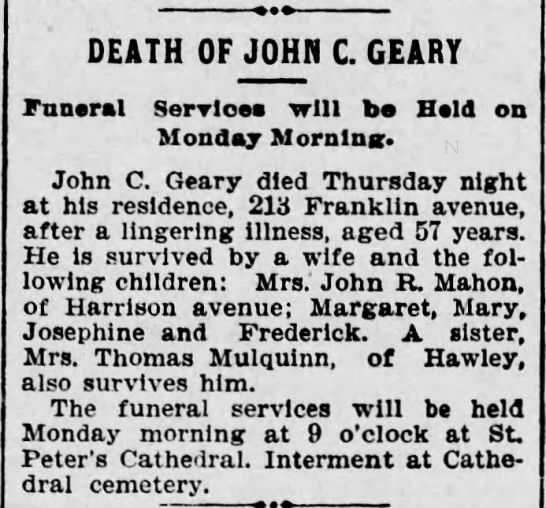 John Geary obit - DEATH OF JOHN C. GEARY Funeral Services will be...