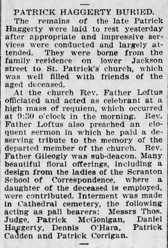 Patrick Haggerty Funeral 1nov1900 - PATRICK HAGGERTY BURIED. The remains of the...