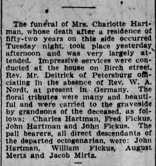 Charlotte Hartman Funeral/Obit - The funeral of Mrs. Charlotte Hart man, whose...