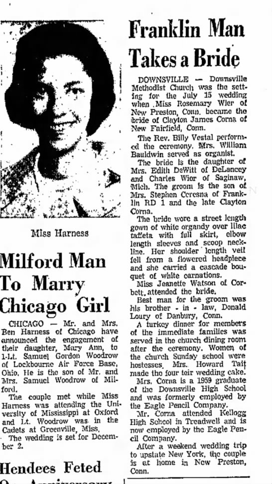 Rosemary Corna - Way Miss Harness Milford Man To Marry Chicago...