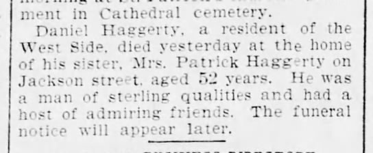 Daniel Haggerty 2jun1899 - Interment in Cathedral cemetery. Daniel...