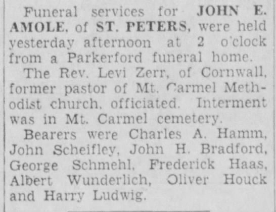 - Funeral services for JOHN E. AMOLE. of ST....