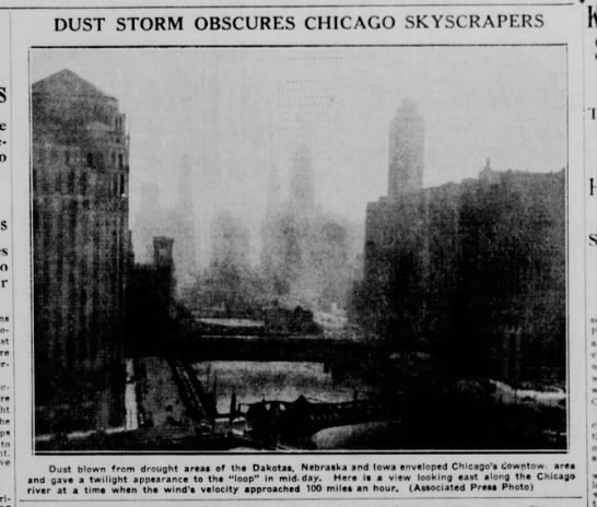 """""""Dust Storm Obscures Chicago Skyscrapers"""" - to DUST STORM OBSCURES CHICAGO SKYSCRAPERS Dust..."""