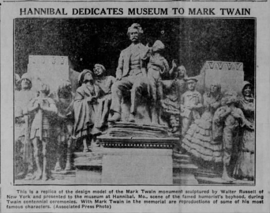 The Eagle (Bryan, Texas) 27 April 1935  Page 1 - HANNIBAL DEDICATES MUSEUM TO MARK TWAIN This is...