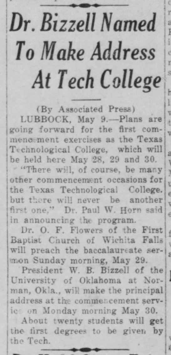 5 9 1927 First commencement - Dr. Bizzell Named To Make Address At Tech...