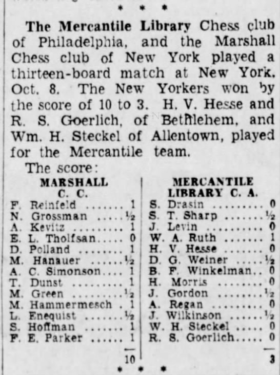 Mercantile vs. Marshall 8 Oct 1933; Sharp, S. T. - The Mercantile Library Chess club of...