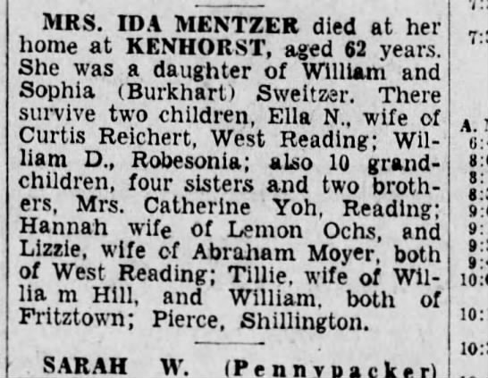Obituary for Ida Sweitzer - MRS. IDA MENTZER died at her home at KENHORST,...