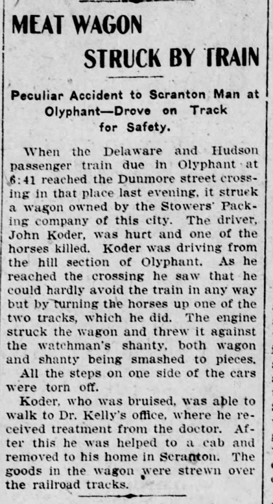 - MEAT WAGON STRUCK BY TRAIN . Peculiar Accident...