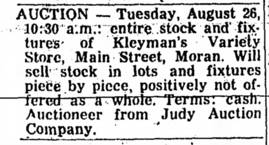 Kleyman's Variety Store - AUCTION — Tuesday, August 26, 10:30 a.m.:...
