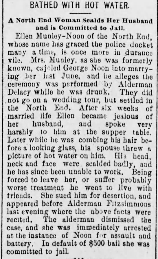 Noone, George 1894 Scalded - BATHED WITH HOT WATER. A North End Woman Scalds...