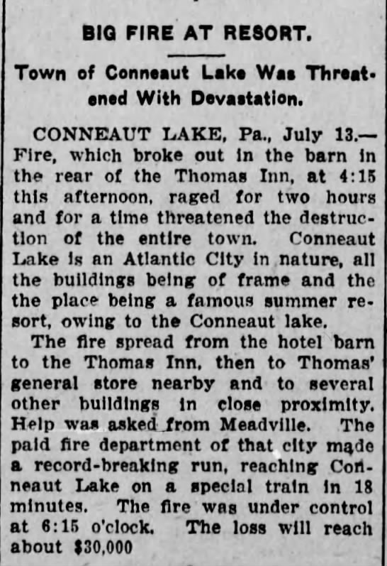 Scranton Republican 7/14/1906 - BIQ FIRE AT RESORT. Town of Conneaut Lake Wss...