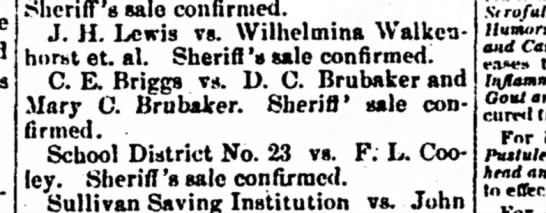 - Sheriff's sale confirmed. J. H. Lewis vs....