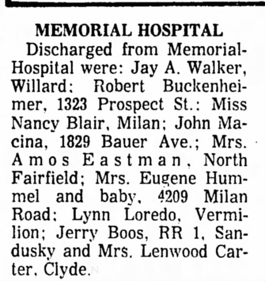 - MEMORIAL HOSPITAL Discharged from Memorial-...