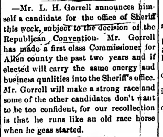 L.H.Gorrell candidate for office of Sheriff.