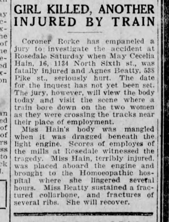 31 Mar 1924 - of of of to GIRL KILLED, ANOTHER INJURED BY...