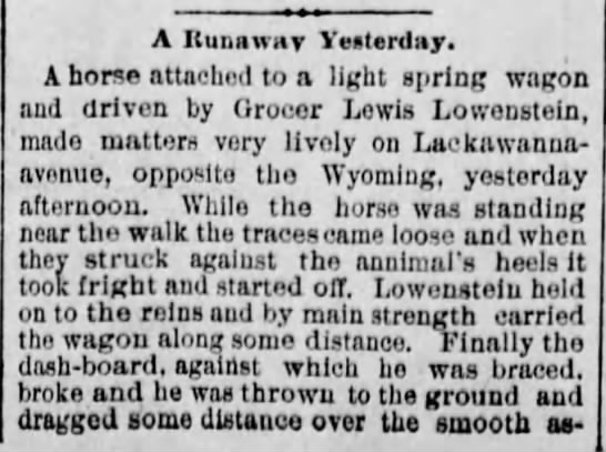 Lewis Lowenstein- Accident - A Runaway Yesterday. A horse attachod to a...