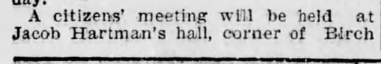 Hartman Hall - A citizens' meeting will be held at Jacob...