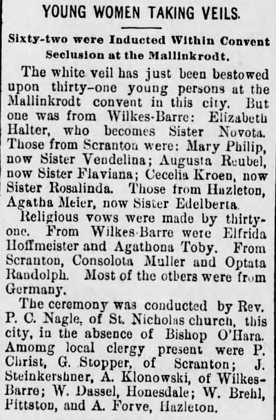 Women join SCC at Mallincrodt  Convent W-B 1894 - YOUNG WOMEN TAKING VEILS. Sixty - two were...