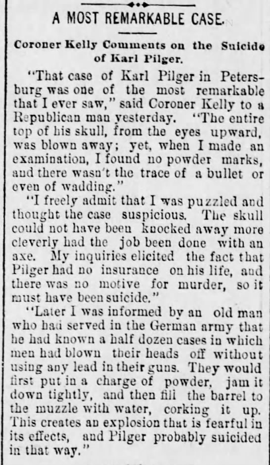 A Most Remarkable Case | Coroner Comments on the Suicide of Karl Pilger (Aug 1894) - A MOST REMARKABLE CASE, Coroner Kelly Couimeuts...