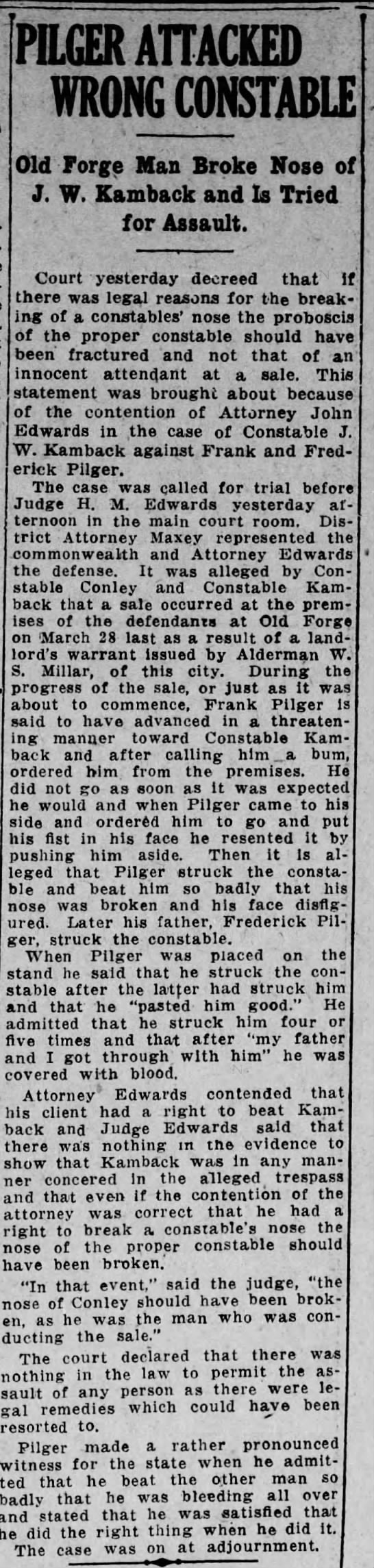 Pilger Attacked Wrong Constable (May 1914) - PILGER ATTACKED WRONG CONSTABLE Old Forge Man...