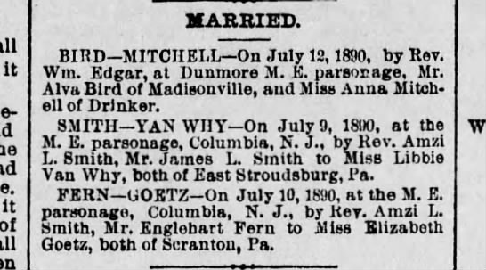 Alva - it it of MARRIED. BIHD - MITCIIELL On July 12,...