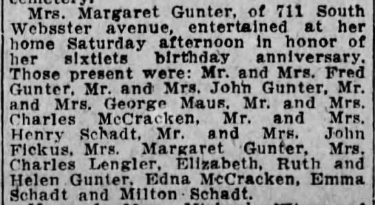 Mrs Margaret Gunter 60th Bday - Mrs. Margaret Gunter, of 711 South Websster...