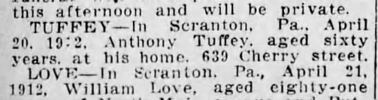 Anthony Tuffey- Death Notice - this afternoon and will be private. TUFFEA' In...